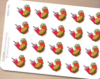 Snack Time | Burger & Fries Planner Stickers Perfect for Erin Condren, Kikki K, Filofax and all other Planners
