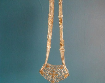 Vintage Middle Eastern Style Silver Tone Filigree Bib Necklace