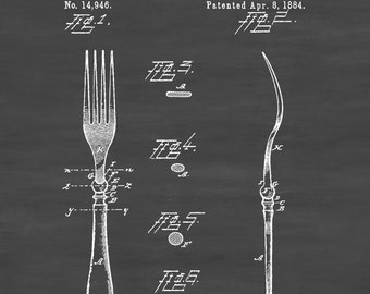 1884 Fork Patent - Kitchen Decor, Restaurant Decor, Patent Print, Wall Decor, Chef Gift, Cooking Patent, Cook Gift, Fork Patent