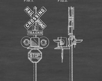 Railroad Crossing Sign Patent 1936 - Locomotive , Trains, Railroad, Railroad Decor, Model Trains, Train Decor