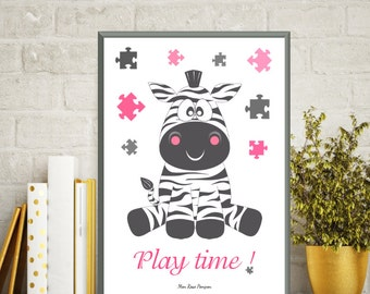 Children illustration zebra, Kids room decor, Kids poster, Animal print, Playroom decor, Children room, Bedroom wall decor, Instant download