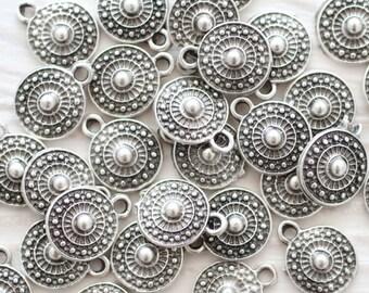 10pc tribal charms, bracelet charms, earring charms, silver beads, metal beads, mini beads, metal charms, round charms, mini silver charms