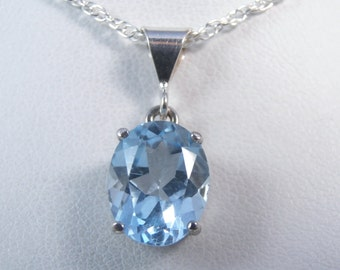 Sky Blue Blue Topaz Solitaire .925 Sterling Silver Necklace