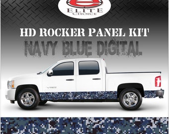 "Navy Blue Digital Camo Rocker Panel Graphic Decal Wrap Truck SUV - 12"" x 24FT"
