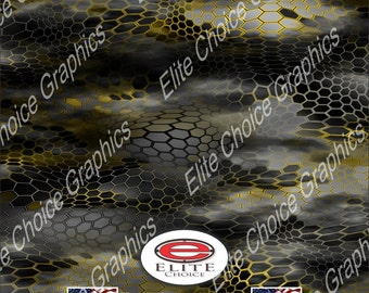 "Chameleon Hex 2 Yellow 15""x52"" or 24""x52"" Truck/Pattern Print Tree Real Camouflage Sticker Roll or Sheet"