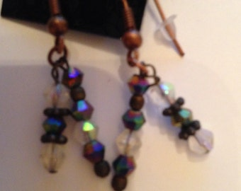 Copper with iridescent crystals earrings