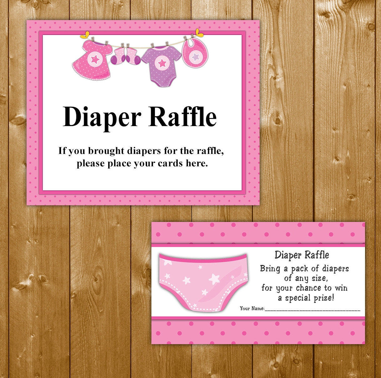 traditional diaper raffle baby shower invitation insert
