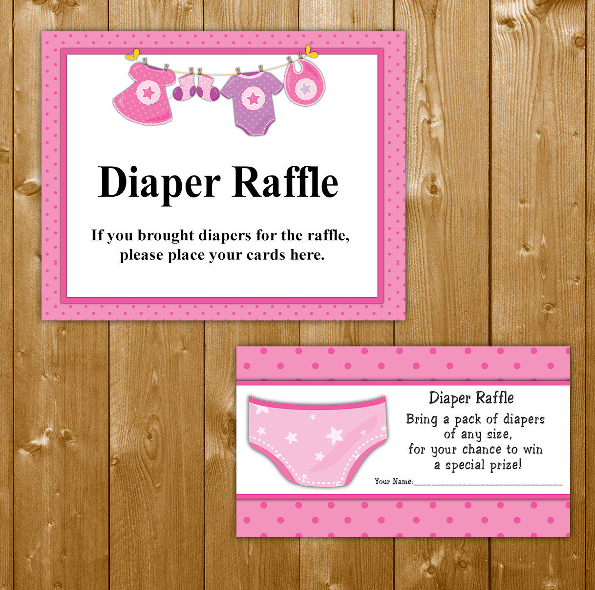 Baby Shower Diaper Raffle: Traditional Diaper Raffle Baby Shower Invitation Insert