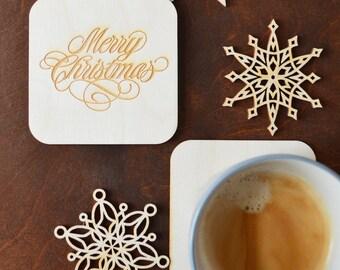 Christmas Coasters Wooden Coasters Holiday Coasters Christmas Decor Christmas Gift Ideas Personalised Coaster Custom Coasters