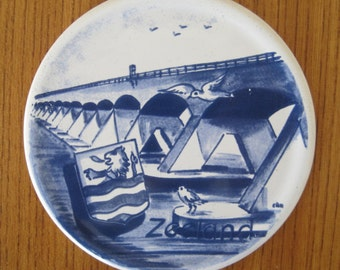Delft Blue Coaster, Zeeland, Hilton International Holland Souvenir, Advertising, Vintage