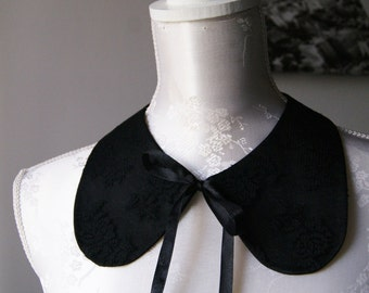 Lace collar necklace in black with ribbon detachable collar peter pan collar women accessories