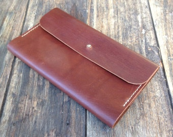 Leather Journal Cover with pouch - Hand cut, Hand stitched, Handmade
