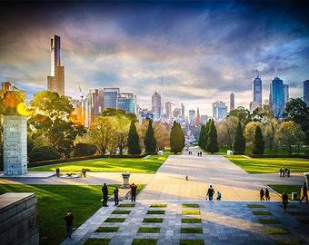 Melbourne photography fine art photograph city wallart urban decor skyline Shrine of Remembrance FREE SHIPPING within AUSTRALIA