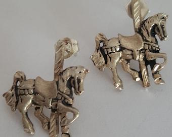 Silver Carousel Horse Earrings