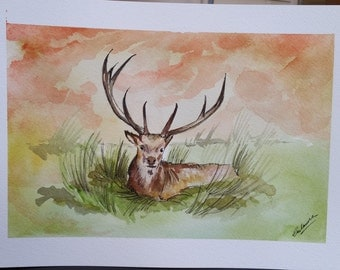 Stag Watercolour Painting. Stag Illustration, Stag Drawing, Stag art, deer painting, Colorful Painting.Original.Unique Gift.Wall Decor Home.