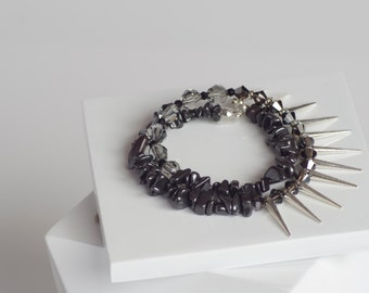 Swarovski Crystal, Hematite, and Spikes Double Wrap Bracelet. Edgy. Modern. Made to Order.
