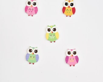 5 Woodland Owl Buttons - Mixed Buttons - Pink, Orange, Green, Yellow, Purple - Shankless Buttons Embelishment, Scrapbook Buttons Notions