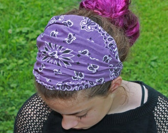 Girl's Extra Wide Bandana Plum Purple Headscarf Girl's Head Covering Hair Loss Headwrap Alopecia Head Wrap Headband (#2023)