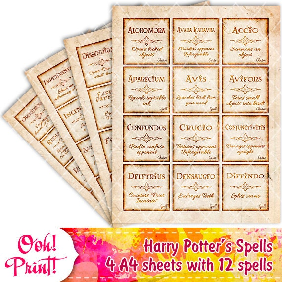 Printable Harry Potter Spells Charms Curses Magic Print Quotes ...