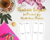 Printable Weekly Vertical 2-page Template for Personal Recollections Planner - Fillable PDF - use any font