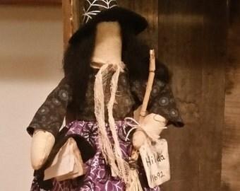 Halloween witch doll Hilda, spell book, broom, Halloween decor, witch, rag doll, shelf sitter, cupboard sitter,