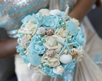 Seashell Bouquet, for bride or Bridesmaids, Beach wedding bouquet