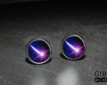 Shooting Star Studs Purple Earrings - Shooting Star Earrings Studs Bright Star Studs - Purple Star Studs Earrings Shooting Star Jewelry Stud