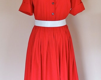 Vintage RED 1950s Shirtwaist Dress Full Skirt Fitted Bodice