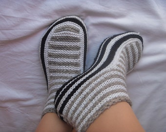 Slippers pattern Knitting patterns Knit slipper pattern Knitted slippers Knit sliper sock Slipper sock pattern Instant download PDF knitting