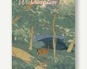 Rock Creek Park - postcards from Washington DC - See America print, forest illustration, nature travel, lettering poster, deer art, drawing