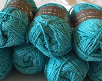 Nashua, Cotton Yarn, Creative Focus Cotton in Turquoise Green, Lot of 7