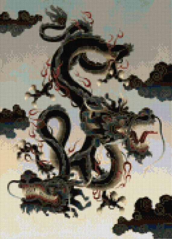 asian two headed dragon cross stitch pattern   pdf   instant download