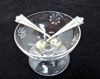 Crystal salt celler with 2 dainty silver spoons Downton Abbey dinner