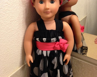 American Girl Doll Dress with matching headband. Also fits My Life and Our Generation Dolls