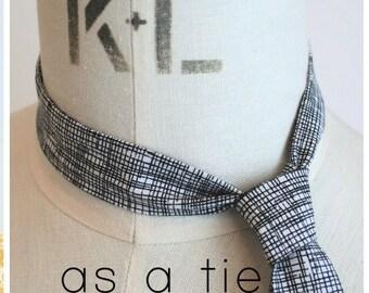 Skinny Tie- Black and White Sketch print