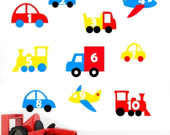 Boys Number Vehicles - Car Plane Train Lorry - Boys Childrens Printed Wall Art Vinyl Stickers - Peel & Stick - Designed by Rubybloom Designs