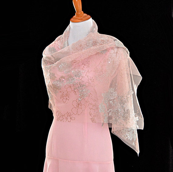 Wedding Gown Cover Ups: Pink Wedding Shawls Classic Wedding Floral Glitter Cape