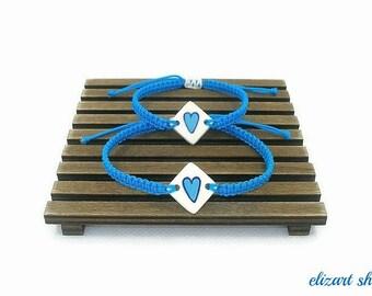 """Set of two """"blue ceramic heart"""" bracelet, mother and daughter bracelet set, matching bracelets, mommy and me bracelet set, mother and child."""