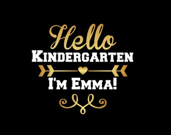 Hello Kindergarten First Day of School Hello First Grade Personalized Name and Grade Back to School  Iron On Vinyl Decal 419