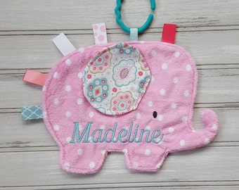 Personalized Baby/Toddler Light Pink Snuggle Elephant - Baby Shower Gift - Personalized Baby Lovey - Handmade - Crinkle Sensory Toy