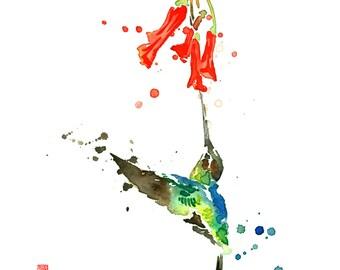 "ORIGINAL Hummingbird and Nectar Watercolor Painting - 8"" x 12"" (20.3cm x 30.5 cm)"