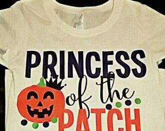 Princess of the patch, pumpkin shirt, pumpkin patch shirt, princess pumpkin, halloween shirt, girls halloween shirt