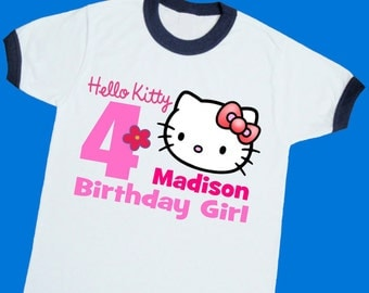 Hello Kitty Birthday Ringer Tee. Personalized Birthday Shirt with Name and Age. 1st 2nd 3rd 4th 5th 6th 7th 8th 9th Birthday Shirt. (25040)