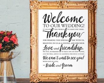 Wedding Welcome Sign - Wedding thank you sign - PRINTABLE 8x10 - 16x20 - 18x24 - 20x30 - 24x36