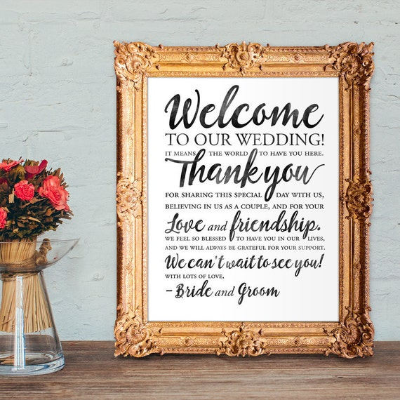Welcome To Mr Hardison S Page: Wedding Welcome Sign Wedding Thank You Sign PRINTABLE 8x10