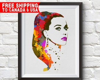 Katy Perry Print,Katy Perry Poster, Katy Perry Art, Home Decor, Gift Idea, Free shipping to canada & usa