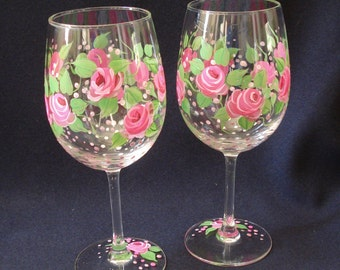 Pair of Pink Rose Wine Glasses. Pink Rose Glasses. Rose Wine Glasses.