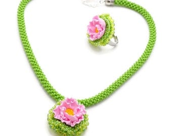 Flower Necklace, bead crochet chartreuse Pink necklace, Bright colors  Rose pendant, Beaded Set, Romantic gift for her