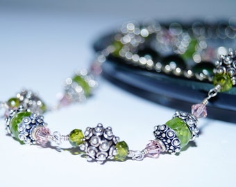 Peridot, Swarovski Crystal and Sterling Silver Wire-Wrapped Bracelet