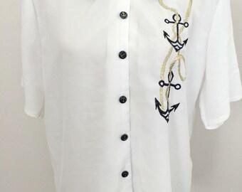 Nautical shirt for women, marine shirt, white navy shirt, nautical marine shirt, us navy, anchor shirt, boats boats boats,vintage nautical